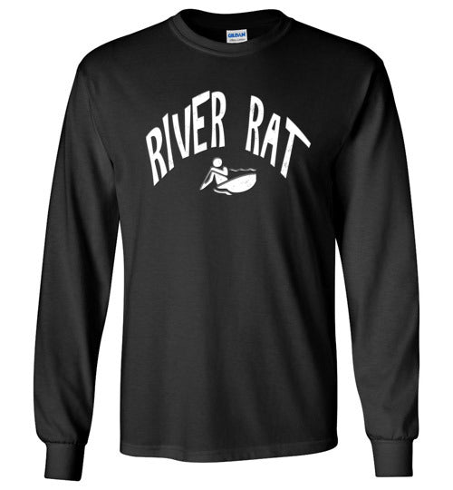 Graphics Inspire - River Rat Kayaking Whitewater Fun Kayaking Long Sleeve Black T-Shirt