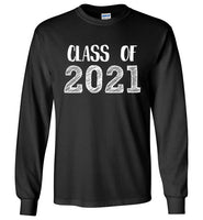 Graphics Inspire - Class of 2021 Graduation Hand Sketched Long Sleeve Black T-Shirt