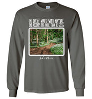 Graphics Inspire - In Every Walk with Nature One Receives Far More - John Muir Quote Floral Trail Long Sleeve Charcoal T-Shirt