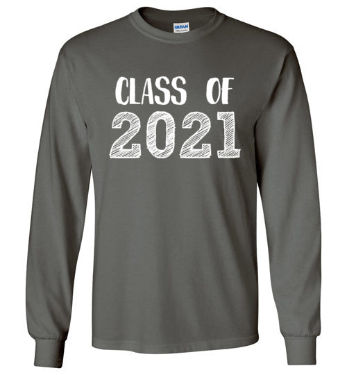 Graphics Inspire - Class of 2021 Graduation Hand Sketched Long Sleeve Charcoal Gray T-Shirt