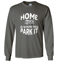 HOME Is Where You Park It Funny Vintage RV Camping Long Sleeve Charcoal T-Shirt
