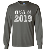 Graphics Inspire - Class of 2019 Graduation Hand Sketched Long Sleeve Charcoal T-Shirt