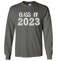 Graphics Inspire - Class of 2023 Graduation Hand Sketched Long Sleeve Charcoal Gray T-Shirt