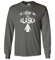 Graphics Inspire - I'd rather be in ALASKA - Arrowhead with State of Alaska Long Sleeve Charcoal T-Shirt