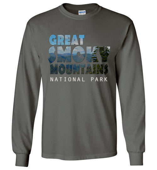 Graphics Inspire - Great Smoky Mountains National Park in Mountain Landscape Long Sleeve Charcoal T-Shirt