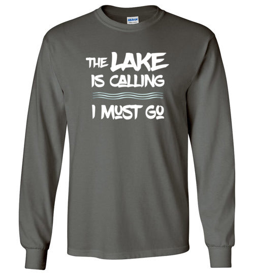 Graphics Inspire - The LAKE is Calling I Must Go Fun Lake Long Sleeve Charcoal T-Shirt