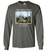 Graphics Inspire - Mt. LeConte is My Happy Place in the Great Smoky Mountains National Park Long Sleeve Charcoal T-Shirt