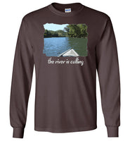 Graphics Inspire - The River is Calling from Kayak with fishing pole Angler's Long Sleeve Dark Chocolate T-Shirt