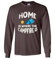 Graphics Inspire - HOME Is Where The CAMPFIRE IS Funny Tent Camping Distressed Long Sleeve Dark Chocolate T-Shirt
