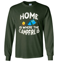 Graphics Inspire - HOME Is Where The CAMPFIRE IS Funny Tent Camping Distressed Long Sleeve Forest Green T-Shirt