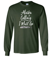Graphics Inspire - Alaska is Calling & I Must Go Alaska Mountain Range Long Sleeve Forest Green T-Shirt