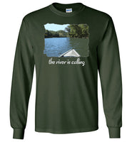Graphics Inspire - The River is Calling from Kayak with fishing pole Angler's Long Sleeve Forest Green T-Shirt
