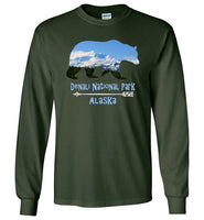 Graphics Inspire - Denali National Park Alaska in Grizzly Bear Long Sleeve Forest Green T-Shirt