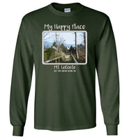 Graphics Inspire - Mt. LeConte is My Happy Place in the Great Smoky Mountains National Park Long Sleeve Forest Green T-Shirt