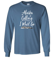 Graphics Inspire - Alaska is Calling & I Must Go Alaska Mountain Range Long Sleeve Indigo Blue T-Shirt