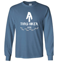 Graphics Inspire - AT Thru-Hiker Completed Appalachian Trail in 2017 Rustic Thru-Hiker Long Sleeve Indigo Blue T-Shirt