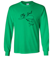 Graphics Inspire T-Shirt - Fly Gal Fly Fish Rainbow Trout in Black Long Sleeve T-Shirt