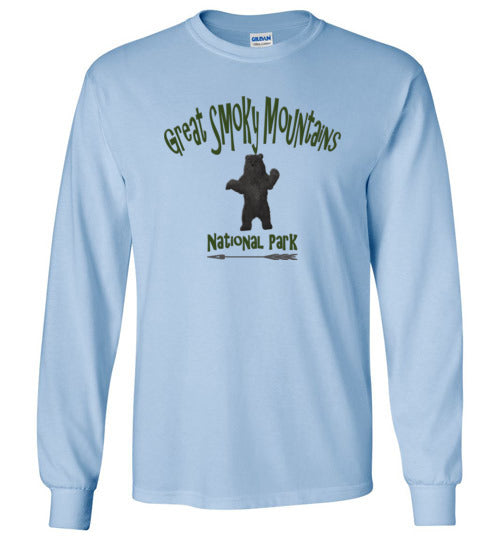 Graphics Inspire - Kids Great Smoky Mountains National Park Black Bear Long Sleeve Light Blue T-Shirt