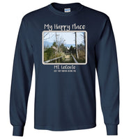 Graphics Inspire - Mt. LeConte is My Happy Place in the Great Smoky Mountains National Park Long Sleeve Navy T-Shirt
