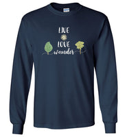 Graphics Inspire - LIVE LOVE Wander in Nature Wanderlust Long Sleeve Navy T-Shirt