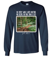 Graphics Inspire - In Every Walk with Nature One Receives Far More - John Muir Quote Floral Trail Long Sleeve Navy T-Shirt