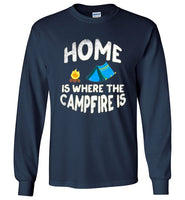 Graphics Inspire - HOME Is Where The CAMPFIRE IS Funny Tent Camping Distressed Long Sleeve Navy T-Shirt