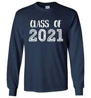 Graphics Inspire - Class of 2021 Graduation Hand Sketched Long Sleeve Navy T-Shirt