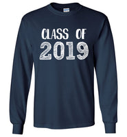 Graphics Inspire - Class of 2019 Graduation Hand Sketched Long Sleeve Navy T-Shirt