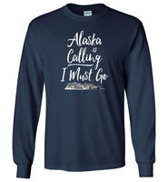 Graphics Inspire - Alaska is Calling & I Must Go Alaska Mountain Range Long Sleeve Navy T-Shirt