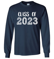 Graphics Inspire - Class of 2023 Graduation Hand Sketched Long Sleeve Navy T-Shirt
