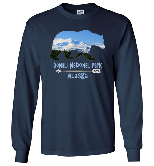 Graphics Inspire - Denali National Park Alaska in Grizzly Bear Long Sleeve Navy T-Shirt
