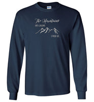 Graphics Inspire - The Mountains are Calling I Must Go Snowy Design Long Sleeve Navy T-Shirt