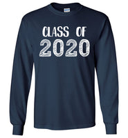 Graphics Inspire - Class of 2020 Graduation Hand Sketched Long Sleeve Navy T-Shirt