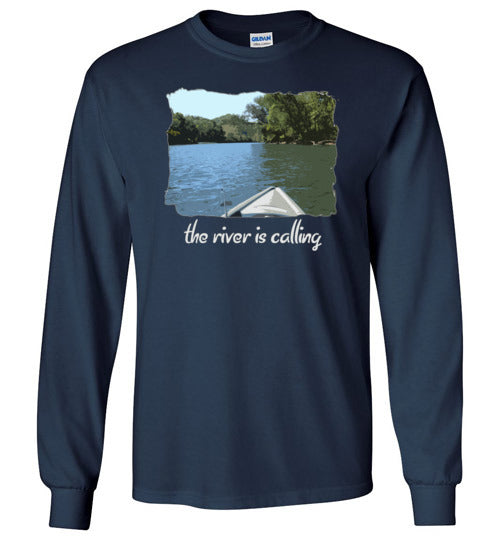 Graphics Inspire - The River is Calling from Kayak with fishing pole Angler's Long Sleeve Navy T-Shirt