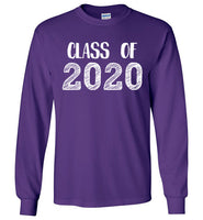 Graphics Inspire - Class of 2020 Graduation Hand Sketched Long Sleeve Purple T-Shirt