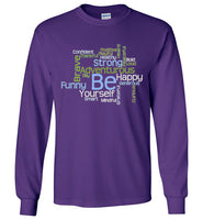 Graphics Inspire - BE Yourself Motivational Word Cloud to Inspire Purple Long Sleeve T-Shirt