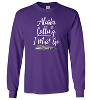 Graphics Inspire - Alaska is Calling & I Must Go Alaska Mountain Range Long Sleeve Purple T-Shirt