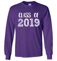 Graphics Inspire - Class of 2019 Graduation Hand Sketched Long Sleeve Purple T-Shirt