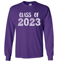Graphics Inspire - Class of 2023 Graduation Hand Sketched Long Sleeve Purple T-Shirt