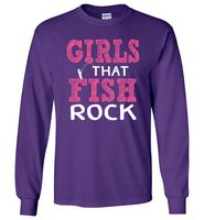 Graphics Inspire - Girls that Fish Rock Fun Fishing Long Sleeve Purple T-Shirt