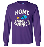 Graphics Inspire - HOME Is Where The CAMPFIRE IS Funny Tent Camping Distressed Long Sleeve Purple T-Shirt