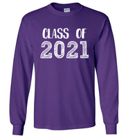 Graphics Inspire - Class of 2021 Graduation Hand Sketched Long Sleeve Purple T-Shirt