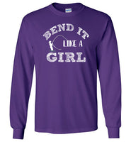 Graphics Inspire - Bend It Like A Girl Fun Fly Fishing Fly Rod Bent Long Sleeve Purple T-Shirt