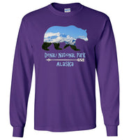 Graphics Inspire - Denali National Park Alaska in Grizzly Bear Long Sleeve Purple T-Shirt