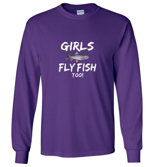 Graphics Inspire - Girls Fly Fish Too! Rainbow Trout Girls Fly Fishing Long Sleeve Purple T-Shirt
