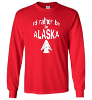 Graphics Inspire - I'd rather be in ALASKA - Arrowhead with State of Alaska Long Sleeve Red T-Shirt