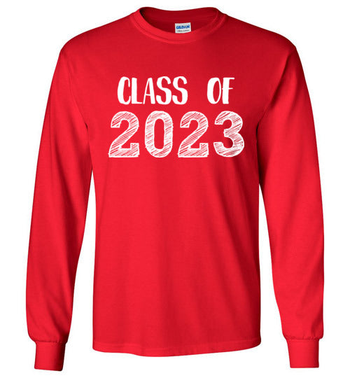 Graphics Inspire - Class of 2023 Graduation Hand Sketched Long Sleeve Red T-Shirt