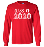 Graphics Inspire - Class of 2020 Graduation Hand Sketched Long Sleeve Red T-Shirt