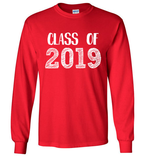 Graphics Inspire - Class of 2019 Graduation Hand Sketched Long Sleeve Red T-Shirt