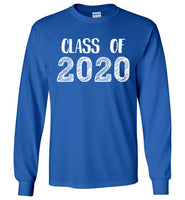 Graphics Inspire - Class of 2020 Graduation Hand Sketched Long Sleeve Royal Blue T-Shirt